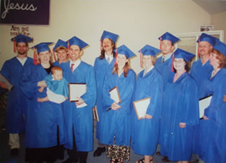 First graduating class of JSM. Pictured from left: Travis Hunt, Stephanie and Esther Relly. Marlene Harbison, Robert Relly, Steve & Corina Walz, Linda Murdock, Jami Harbison, Linda Crill, Bruce & Jeannine Eldridge .